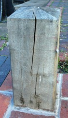 Cracked square bollard on the Farmers Bridge lock flight in Birmingham