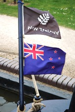 New Zealand flags on NB Gypsy Rover