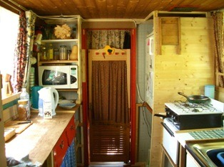 Basingstoke canal houseboat kitchen