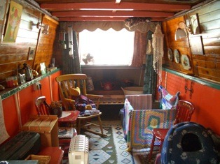 Basingstoke canal houseboat lounge