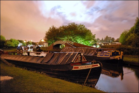Nuneaton at the Black Country Boat Festival, Windmill End, in the moonlight