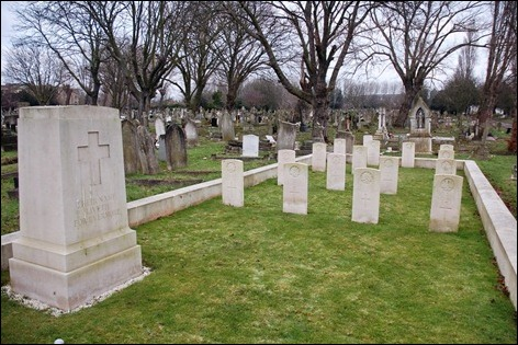 Carefully tended military graves in Kensal Green cemetery, near the Grand Union Canal.