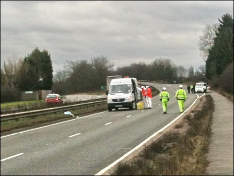 Aftermath of accident at Streethay on the A38